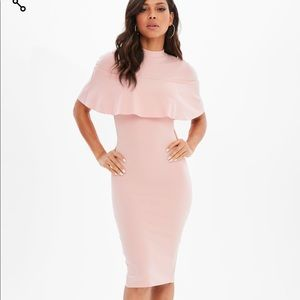 MISSGUIDED pink frill overlay midi dress